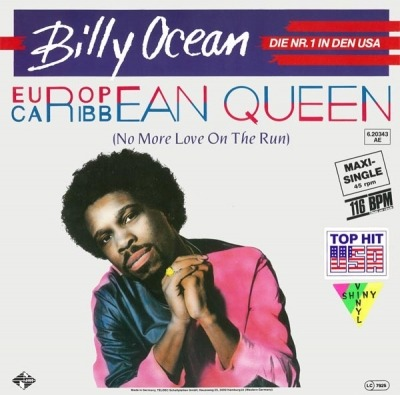 "European Queen (No More Love On The Run) - Billy Ocean (Winyl, 12"", 45 RPM, Maxi-Singiel,  Orange Transparent , ℗ © 1984) - przód główny"