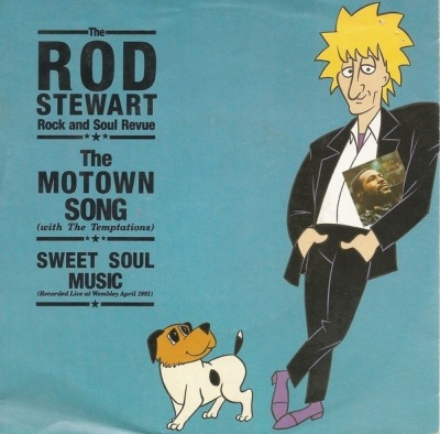 "The Motown Song - The Rod Stewart Rock And Soul Revue  With The Temptations (Winyl, 7"", 45 RPM, Singiel,  Big Hole Center , ℗ © 1991) - przód główny"
